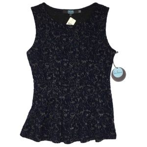 Eva Franco Navy Metallic Peplum Top XS